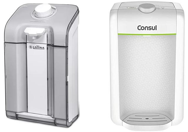 Dois modelos de purificadores de água.